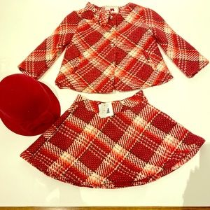 Janie and Jack plaid skirt and swing coat set